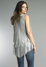 Sequin Double Layer Sleeveless Top Silver