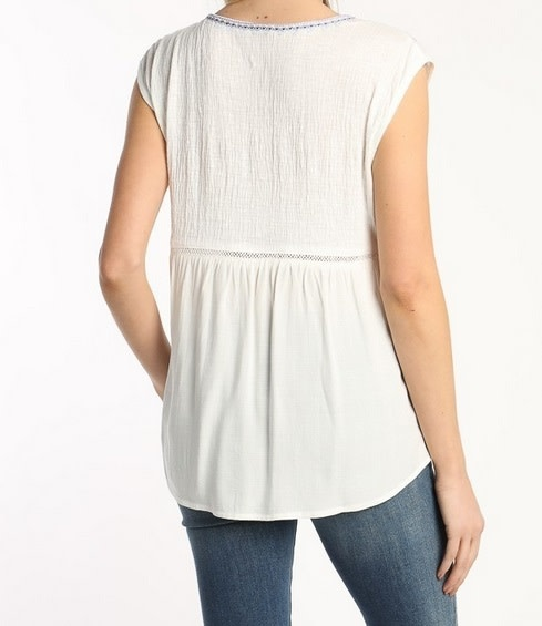 Embroidered Cap Sleeve Top Off White