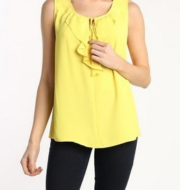 Ruffle Front Sleeveless Top Yellow