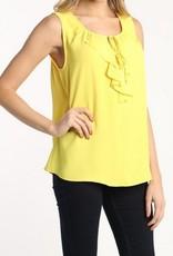 Ruffle Front Sleeveless Top Yellow