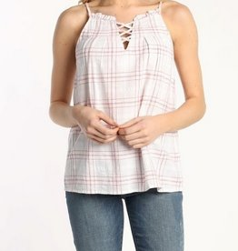 Cami Top Plaid Print Red