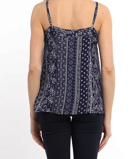 Embroidery Detailed V Neck Top White Navy