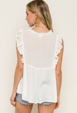 Flutter Detailed Sleeveless Eyelet Top White