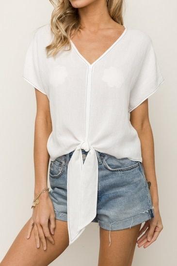Tie Front Crop Top White