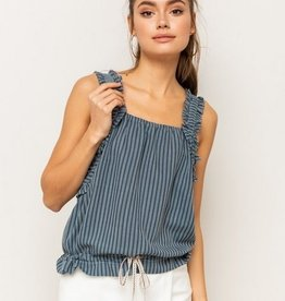 Crinkle Stripe Ruffle Shoulder Crop Top Teal