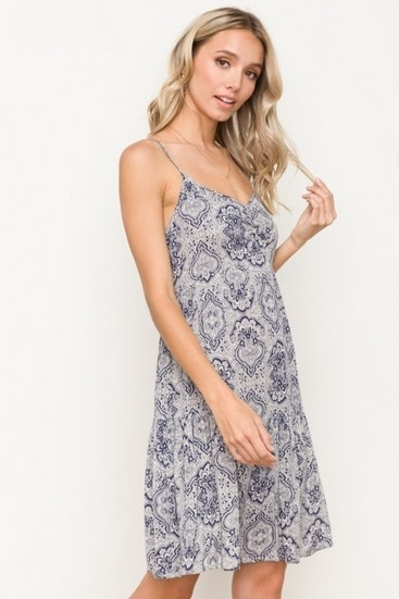 Tiered Mosaic Print Babydoll Dress Oatmeal/Navy