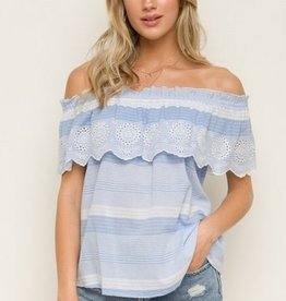 Embroidery Scalloped Hem Off Shoulder Top  Lt Blue