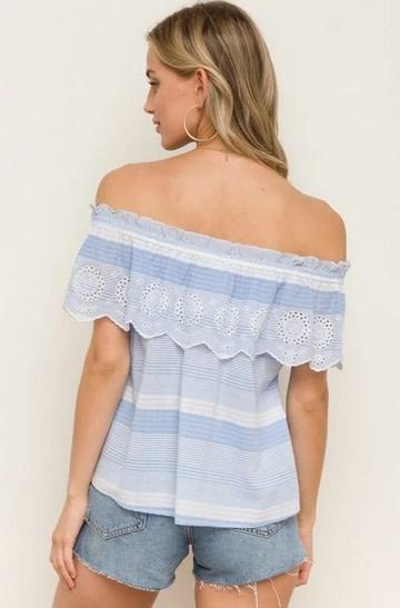 Embroidery Scalloped Hem Off Shoulder Top  Lt Blue