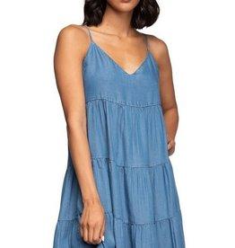 Tiered Baby Doll Tencel Dress Med Blue