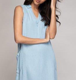 Mini Tencel Sleeveless Dress Lt Blue