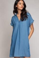 Short Sleeve Tencel Shift Dress Med Blue