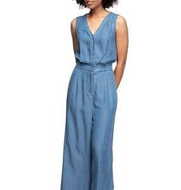 Button Down Tencel Jumpsuit Med Blue