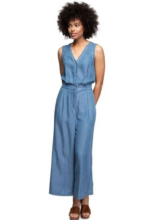 Button Down Tencel Jumpsuit Med Blue