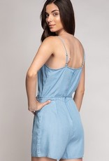 Denim Ruffle Wrap Tie Romper Lt Blue