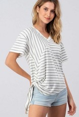 Stripe Assymetrical Side Tailed Top White Grey