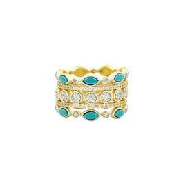 Freida Rothman Fleur Bloom Empire Turquiose 5 Stack Ring