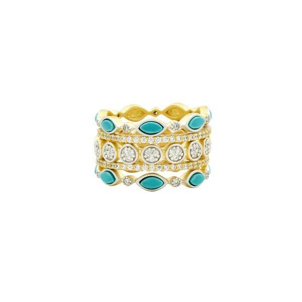 Freida Rothman Fleur Bloom Empire Turquiose 5 Stack Ring