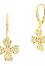 Freida Rothman Harmony Pave Flower Leverback Earring