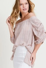 Checked Blouse with Puffy Sleeves Mauve/White