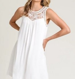 High Crochet Floral Neck Tunic Dress White