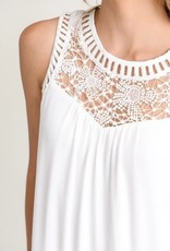 High Crochet Floral Neck Tunic Dress White