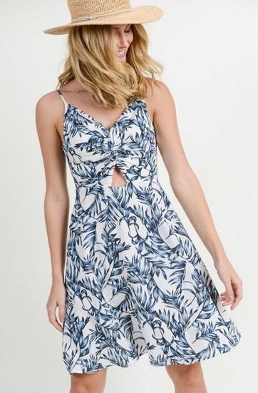 Twist Front Cut Out Dress Blue/White