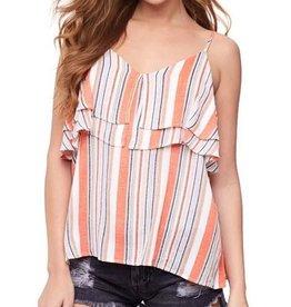 Stripe Printed Ruffled Cami Top Orange