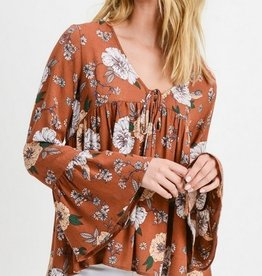 Floral Print Ruffle Bell Sleeve Blouse Rust