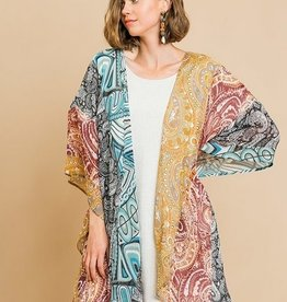 Paisley Mix Sheer Open Carden Blush/Teal