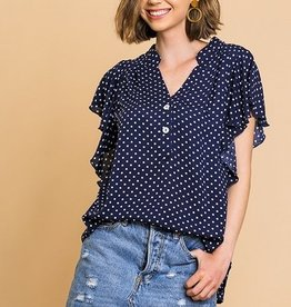 Polka Dot Ruffle Sleeve Button Up Blouse Navy