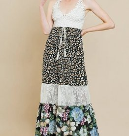 Strappy Tiered Animal/Floral Print Maxi Dress Black