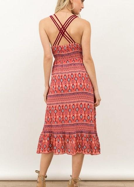 Tribal Print Cross Back Midi Dress Mauve
