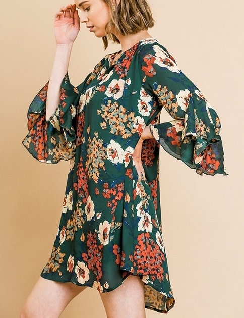Flaring Ruffle Sleeves Hem Floral Dress Forest