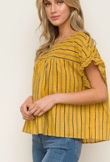 Tie Back Ruffle Sleeve Stripe Top Mustard