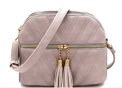 Tassle Accent Chevron Quilted Crossbody