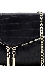 Crocodile Print Assymertical Flap Clutch
