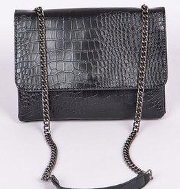 Chain Strap Snake Skin Clutch