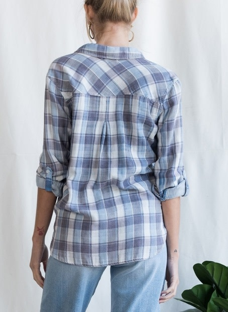 Relaxed Fit Plaid Shirt Blue