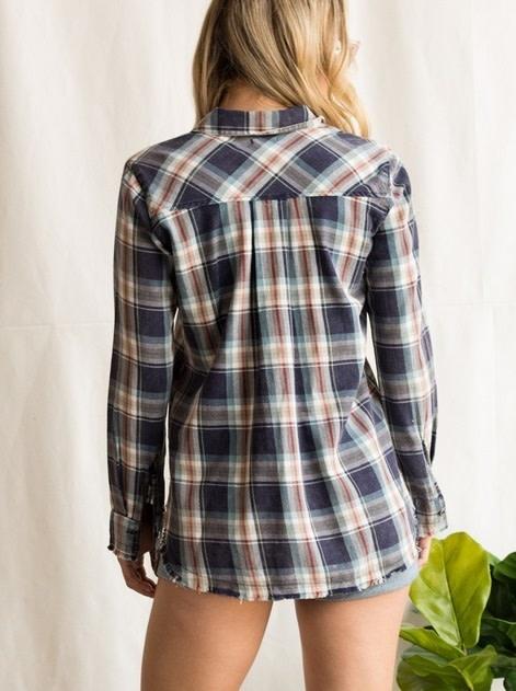 Raw Hem Button Up Plaid Shirt Red/Blue