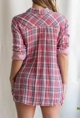 Double Sided Raw Hem Plaid Shirt Red