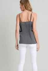 Pintuck Lace Detailed Cami Tank Black/White