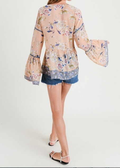 Mixed Print Bell Sleeve Top Sand