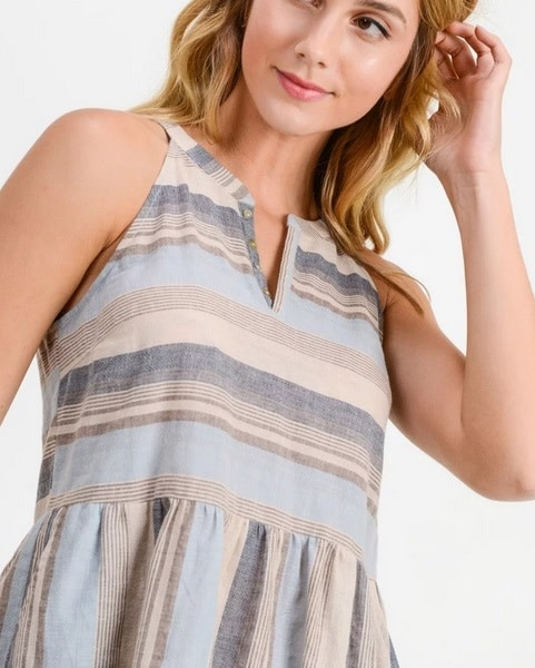 V Neck Collarless Tunic Tank Blue/Taupe