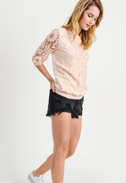 Lace Detailed Sweatshirt Nude/Cream