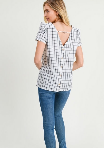 Button Down Back Grid Top White
