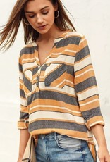Striped Shirt with Pocket Mustard Multi