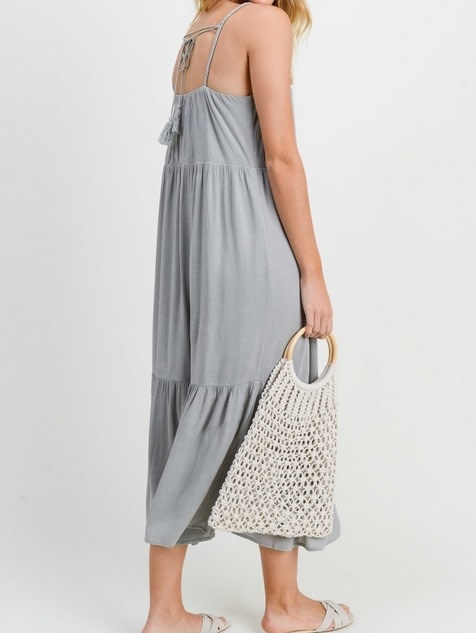 Braided Detail Tiered Midi Moss Grey