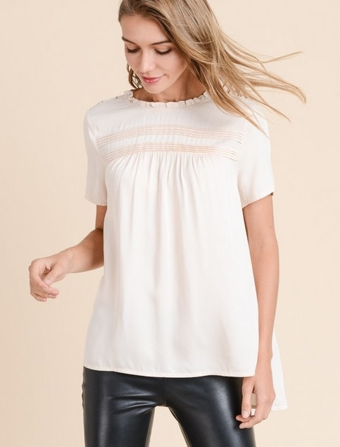 Ruffle Neck Pintuck Lace Back Top Taupe