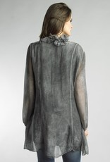 Button Front Ruffle Collar Tunic Gray