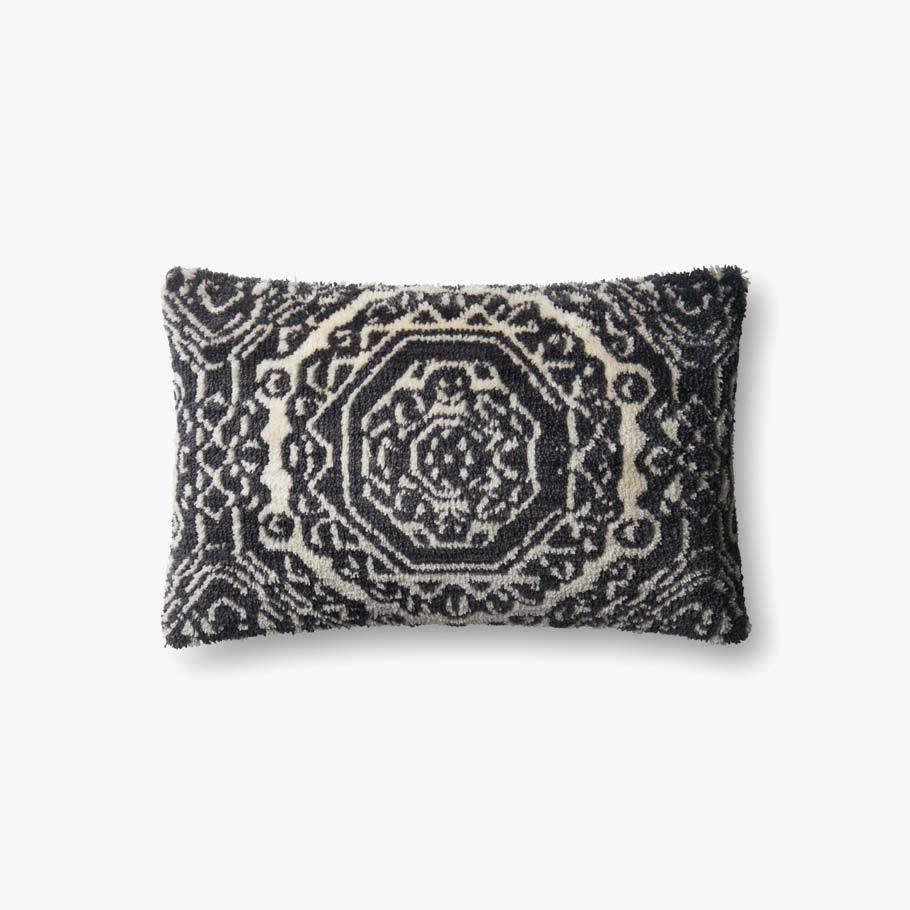 Black Tile Accent Pillow - 13 x 21